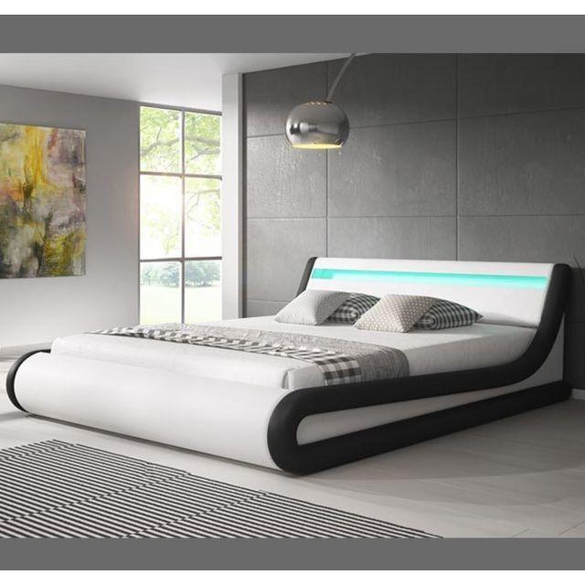 DESIGN AMEUBLEMENT Lit coffre design Parisina – blanc avec noir 140x190cm