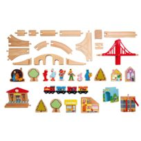 Educo - circuit de train en bois, de 116 pieces