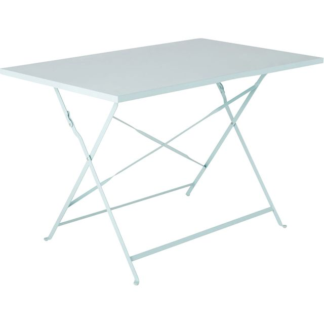 Alinéa - Pims Table de jardin pliante bleue-grise en acier 2 ...