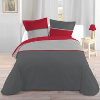 Lovely Casa - Housse de couette bicolore Rouge 240x260cm + 2 taies 100% coton