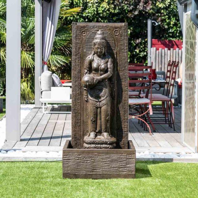 Fontaine De Jardin Mur D Eau Deesse Dewi Sri 1m 50 Brun