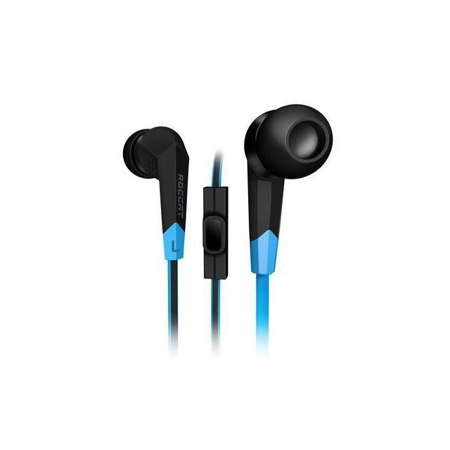 ROCCAT Ecouteurs intra-auriculaires avec microphone pour gamer - ROC-14-100 - Bleu/Noir Son haute performance : basses profondes et aigus clairs - Ultra-léger : port agréable avec 3 tailles d'embouts ergonomiques - Microphone intégré au câble - Câble plat