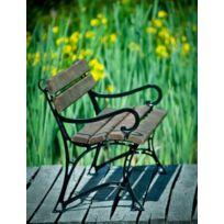 Garden - Banc de jardin en bois couleur palissandre et aluminium 150cm avec accoudoirs