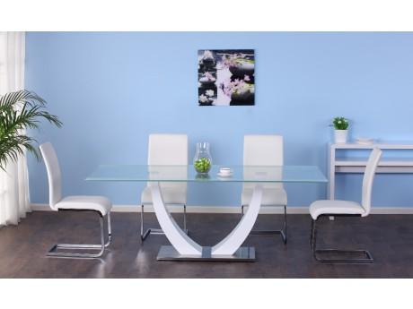 Vente-unique Table à manger Mezzo - 8 couverts - Mdf et verre trempé - blanc