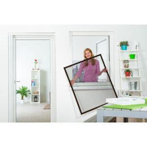 empasa moustiquaire cadre fixe fen tre master slim alu marron l100 x h120 cm d couper soi. Black Bedroom Furniture Sets. Home Design Ideas
