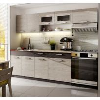 Baltic Meubles - Cuisine Topaze chêne cendré 2m40 / 6 meubles