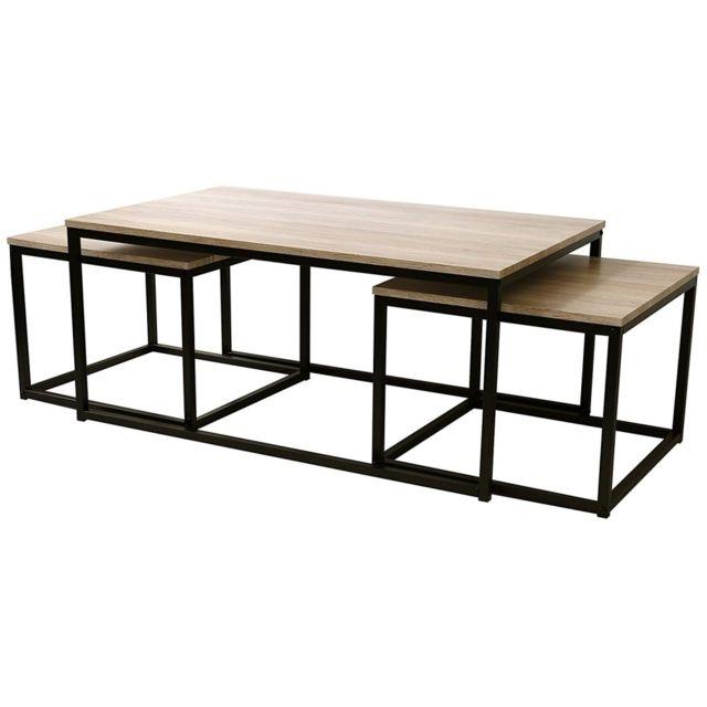 MAISON FUTEE Ensemble table basse & 2 consoles - Collection Loft