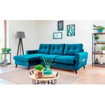 canape bleu achat canape bleu pas cher rue du commerce. Black Bedroom Furniture Sets. Home Design Ideas