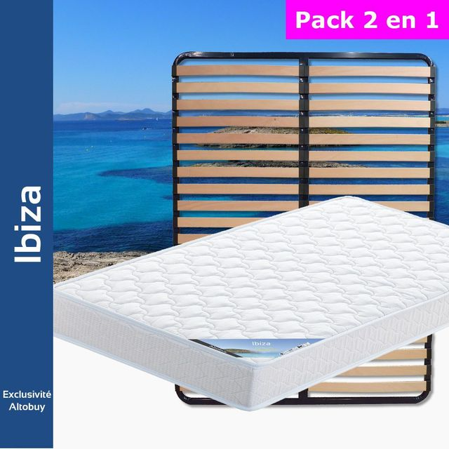 altobuy ibiza pack matelas lattes 140x190 blanc 140cm x 190cm pas cher achat vente. Black Bedroom Furniture Sets. Home Design Ideas