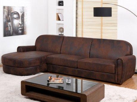 acheter populaire dbb3b ae965 Vente-unique - Canapé d'angle Club en microfibre aspect cuir ...