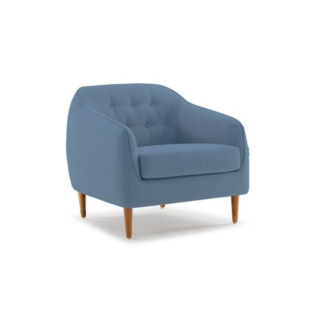 Meubletmoi Fauteuil en tissu bleu confortable - Erika