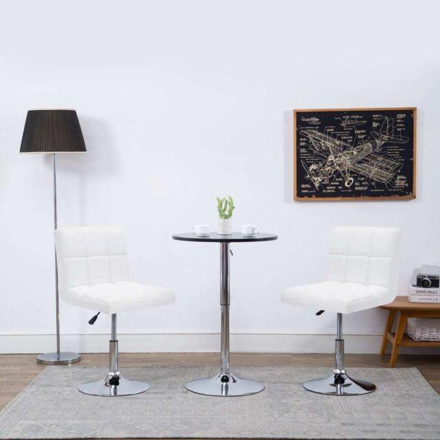 Chaise pivotante de dîner 2 pcs Similicuir 50x43x85 cm Blanc MeublesFauteuilsChaises de cuisine et de salle à manger   Blanc   Blanc
