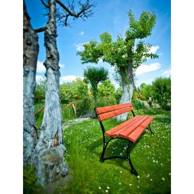 Garden Banc de jardin en bois couleur acajou et aluminium 150cm
