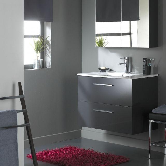 Planetebain soldes meuble de salle de bain suspendre 80 cm 2 tiroirs gris laqu gris planete - Meuble salle de bain 80 cm pas cher ...