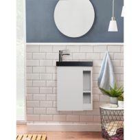 Meuble Lave-mains Blanc avec Vasque en Résine de Synthèse Noire L41,5 x H53  Hampton