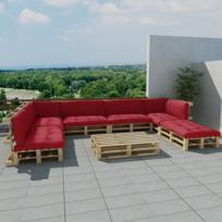 Vidaxl - Salon d'extérieur en palette de bois avec 13 coussins rouge 21 pcs