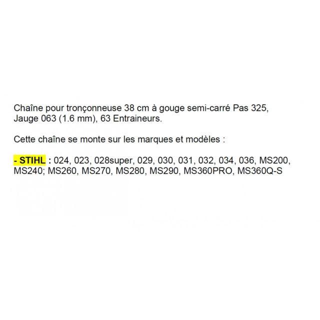 Cha/îne Pro 45cm pour tron/çonneuse STIHL 3//8-063-1,6mm-66 Entraineurs = 75-66E