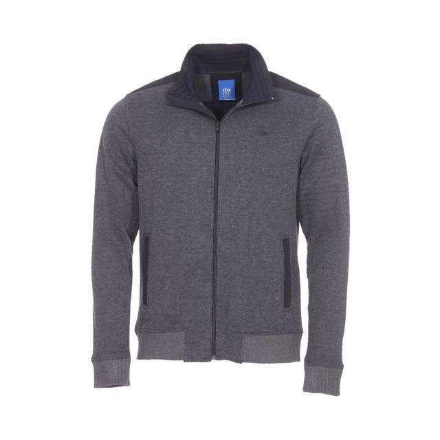 4bd3408df032 Tbs - Gilet zippé Segogil en coton mélangé gris anthracite à détails noirs  - pas cher Achat   Vente Gilet homme - RueDuCommerce