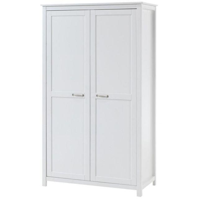 Vipack Armoire 2 portes pin massif blanc Stella