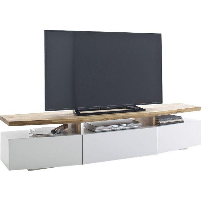 Meuble Tv Blanc Laque Et Bois