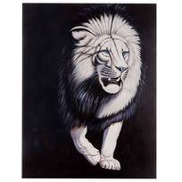 Mendler - Tableau à l'huile, tigre blanc, peint à la main à 100%, toile de décoration murale Xl ~ 120x90cm