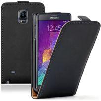 Vcomp - Housse Coque Etui Cuir Pu Vrai pour Samsung Galaxy Note 4 Sm-n910F/ Note 4 Duos Dual Sim, N9100/ Note 4 CDMA, / N910C N910W8 N910V N910A N910T N910M - Noir