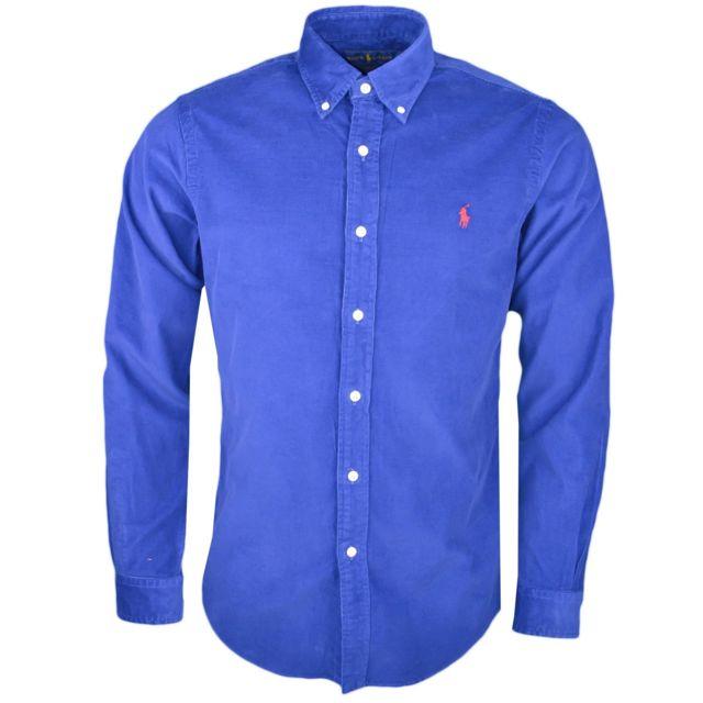 d41926ba322dc Ralph Lauren - Chemise en velour côtelé bleu marine slim fit pour homme - pas  cher Achat   Vente Chemise homme - RueDuCommerce