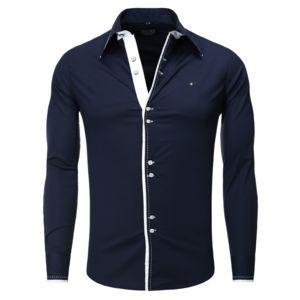 carisma chemise casual homme col italien bleu marine pas cher achat vente chemise homme. Black Bedroom Furniture Sets. Home Design Ideas