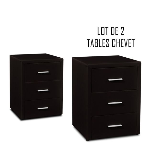 Meubler Design Table chevet 3 tiroirs Kasi Lot de 2 noir