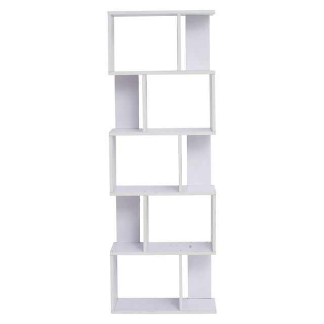 Mobili Rebecca Bibliotheque Etageres Bois Blanc Design 172,5x60x24,5