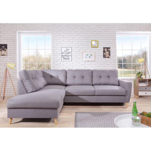 bobochic canap scandi 6 places et convertible angle gauche gris clair 198cm x. Black Bedroom Furniture Sets. Home Design Ideas