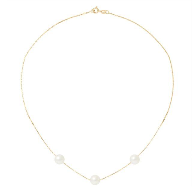 Blue Pearls Collier Ras du Cou Femme Chaine Forcat Or jaune 750/1000 et 3 Perles de Culture Blanches - Bps 0254 W