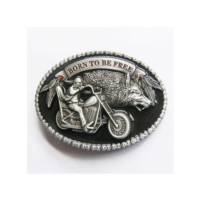 Universel - Boucle de ceinture born to be free loup moto motard biker db3aa0417ea
