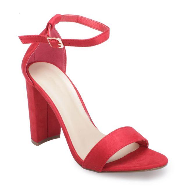 Lamodeuse Sandales rouges à talon carré pas cher Achat
