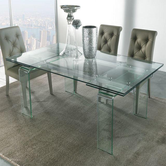 Nouvomeuble Table design en verre extensible Delia