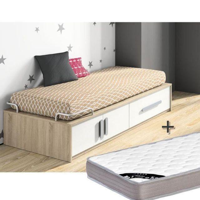 lit bois 90x190. Black Bedroom Furniture Sets. Home Design Ideas