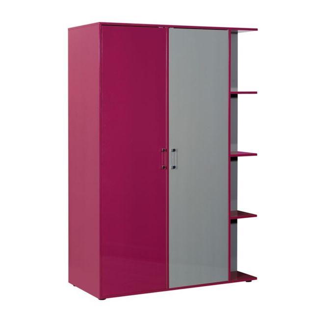 Tousmesmeubles Armoire dressing 2 portes et rayonnages - Lullaby - L 135 x l 60 x H 215