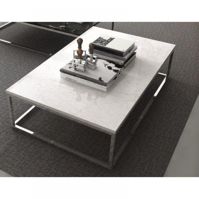 Inside 75 Prairie table basse rectangulaire en marbre blanc piétement métal chromé