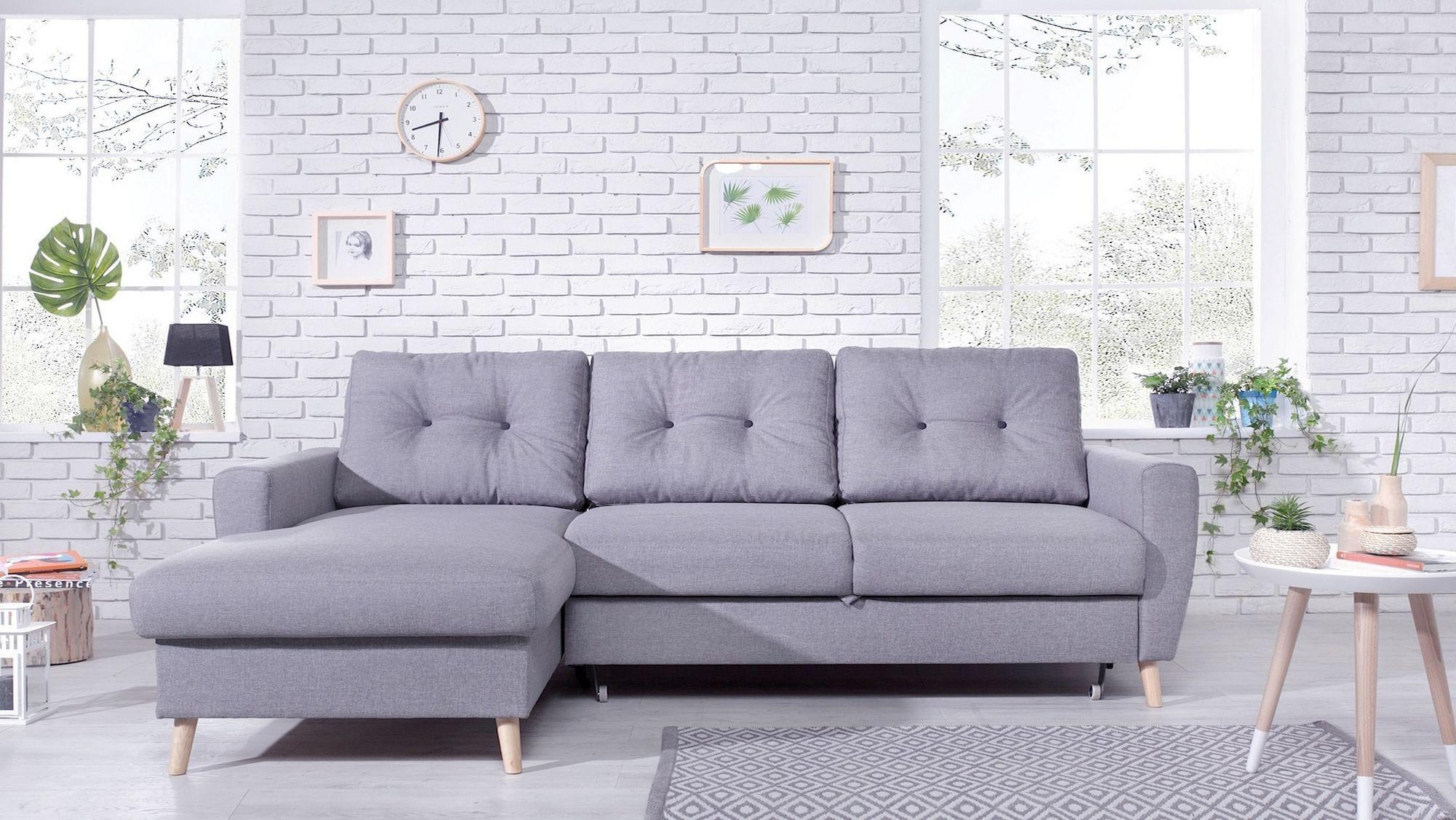 OSLO - Canapé d angle gauche convertible - Gris clair - 225x147x86cm