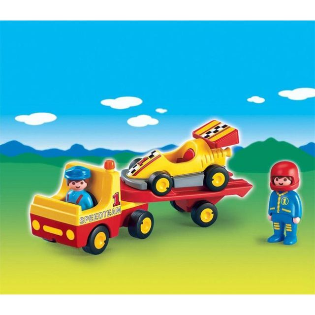 playmobil 6761 voiture de course avec camion de transport pas cher achat vente playmobil. Black Bedroom Furniture Sets. Home Design Ideas