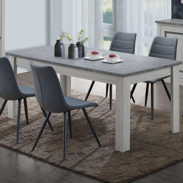 Kasalinea Table 170 cm couleur chêne clair et gris Emmett
