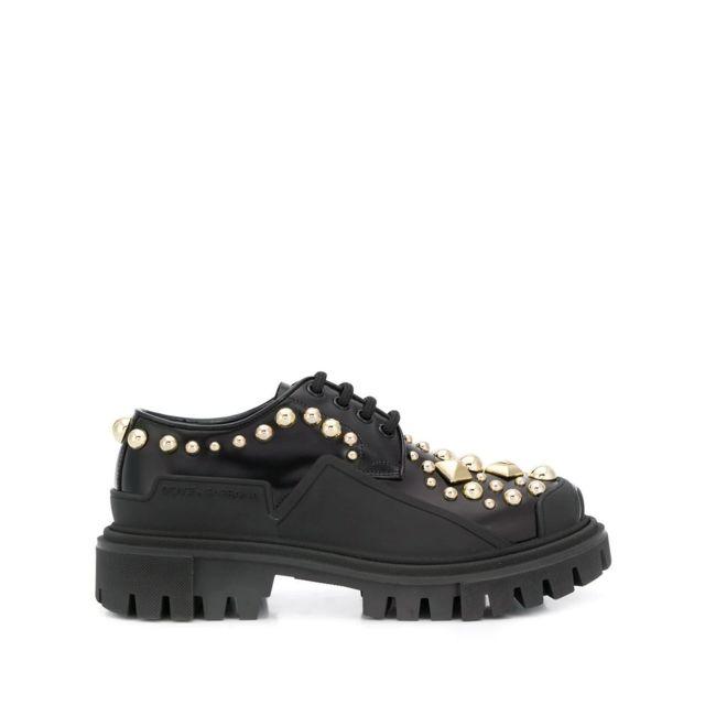Dolce & Gabanna Dolce E Gabbana Femme Ck1700AJ5578S574 Noir Cuir Chaussures À Lacets