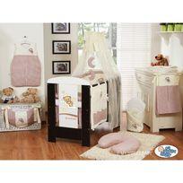 Autre - Lit et Parure de lit bébé bonne nuit beige marron lit cadre blanc