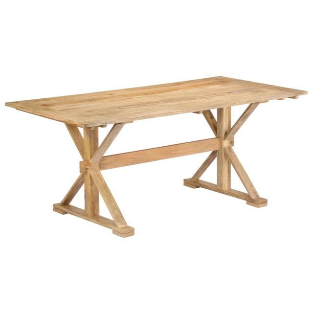 Stylé Tables ensemble Bakou Table de salle à manger 180x90x76 cm Bois de manguier massif