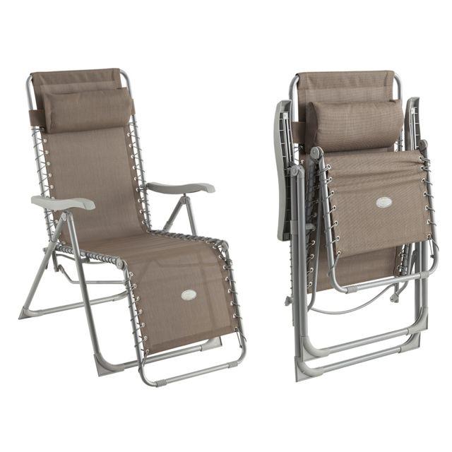 Hespéride fauteuil de jardin relax silos taupe 1 pas cher achat vente transats chaises longues rueducommerce