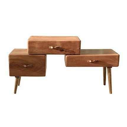Table appoint 1 porte 2 tiroirs en bois acacia