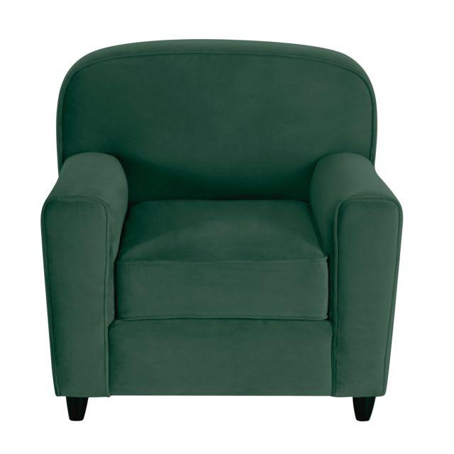 Rendez Vous Deco Fauteuil Gigi en velours vert foncé