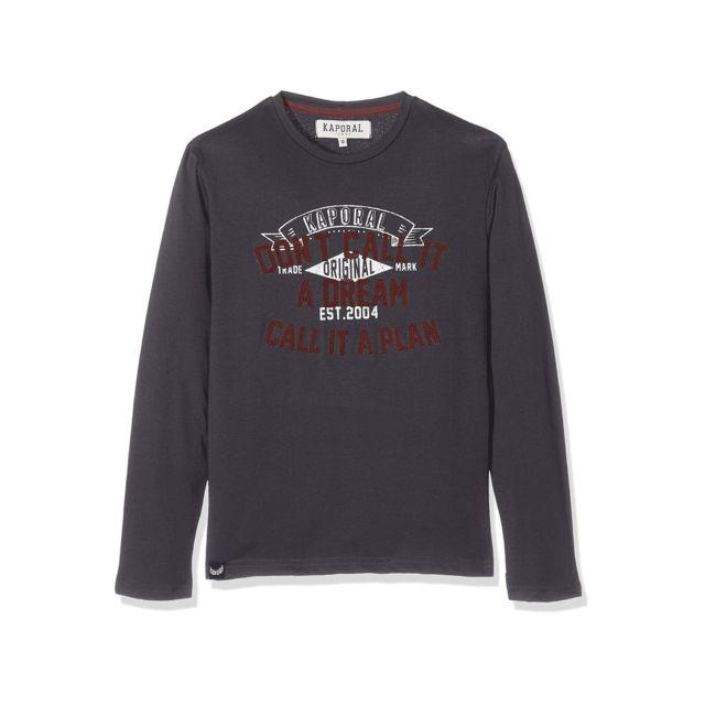 dbb65cc021361 Kaporal 5 - Kaporal T-shirt Manches Longues Garçon Neam Gris - pas ...