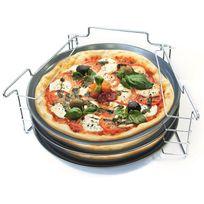 Touslescadeaux - 3 Plaques à Pizza Antiadhésif avec Support en Inox