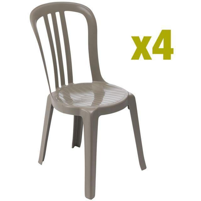 Grosfillex - chaise de jardin miami bistrot - lot de 4 ...